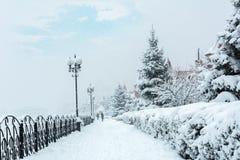 Snow storm in the Ukrainian capital Stock Photo