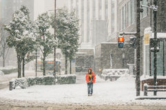 Snow storm in Yokohama, Japan Stock Photo