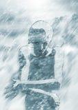 Snow Stormer. Illustration of a girl in snow storm stock illustration