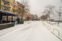 Snow on the street along the waterfront in Pomorie, Bulgaria stock images