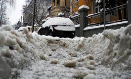 Snow on the street stock photo