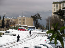 Snow on street  after the massive snowfall.  Jerusalem, Israel Royalty Free Stock Photo