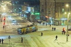 Snow street in Petrozavodsk Royalty Free Stock Photo
