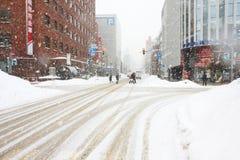 Snow strom on the street Stock Photo