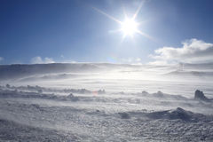 Snow strom with sun. Snowstorms are storms where large amounts of snow fall Royalty Free Stock Images