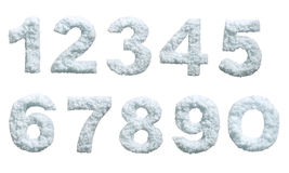 Snow styled numbers. Set of snow styled numbers. Isolated on white background. With clipping path Stock Image