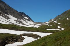 Snow in summer. Snow during summer in the high Alps stock images