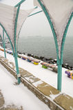 Snow in summer cafe on the waterfront of Pomorie, Bulgaria Stock Photos