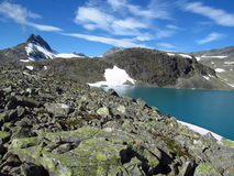 Snow summit, rocky mountain peaks and glacier in Norway Stock Photography