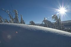 Snow and sun. Somewhere in Karkonosze mountains in Poland Stock Images