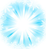 Snow sunburst - merry christmas card Stock Photography