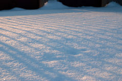 Snow at sunset. Winter texture created by snow sunset light and shades Royalty Free Stock Photography