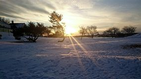 Snow sunset. Royalty Free Stock Photography