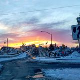 Snow sunset royalty free stock photography