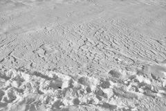Snow surface and footprints Stock Image