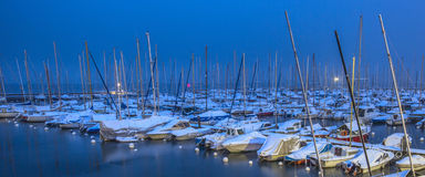 Snow in a Swiss Marina Stock Photo
