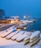 Snow in a Swiss Marina II Royalty Free Stock Image