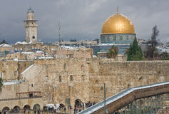 Snow on Temple Mount Royalty Free Stock Photography