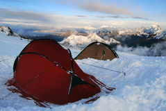 Snow tent camp Stock Image