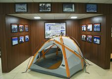 Snow tents on display at Hall of Fame, Leh. Snow tents used by Indian Army at higher altitudes on display at Hall of Museum, Leh Stock Photography