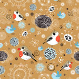 Snow texture with birds Stock Photography