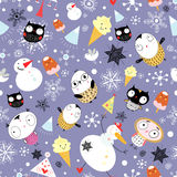 Snow texture with owls. Seamless pattern with winter owls and snowmen on a violet background with snowflakes Royalty Free Stock Image