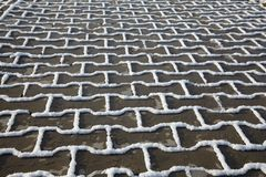 Snow texture on paving slab Royalty Free Stock Images