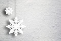 Snow texture with Xmas snowflakes decoration Stock Image
