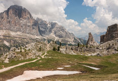 Snow thawing in Dolomites Stock Image