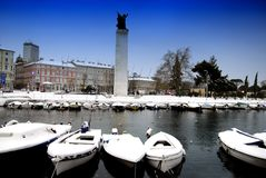 Snow on theMotor Boats in Rijeka Dead Channel in Croatia Stock Photography