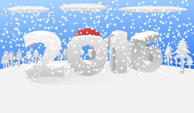 2016 snow. There are snow, clouds, trees and 2016 Royalty Free Stock Images