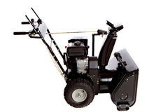 Snow Thrower Isolated on White. Background View from side Royalty Free Stock Photos