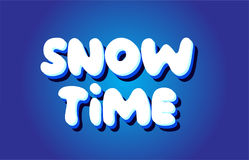 Snow time text 3d blue white concept vector design logo icon Stock Image
