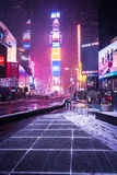 Snow In Times Square Stock Image
