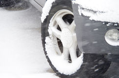 Snow on Tire Royalty Free Stock Photo