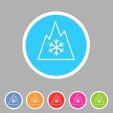 Snow tire Mountain Snowflake Mud  symbol icon flat web sign  logo label set. Snow tire Mountain Snowflake Mud Snow symbol icon flat web sign symbol logo label Stock Photos