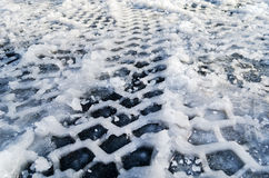 Snow Tire Track Royalty Free Stock Photos