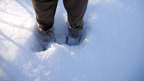 Snow to the knee. Feet in the snow royalty free stock photography