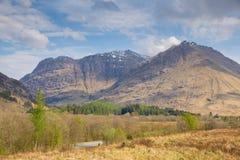 Snow top mountains Glencoe Scotland UK famous tourist destination in Lochaber Scottish Highland Stock Image