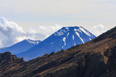 Snow top of Ngauruhoe volcano, New Zealand Royalty Free Stock Images
