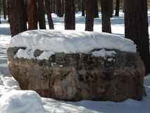 Snow topped boulder Royalty Free Stock Photography