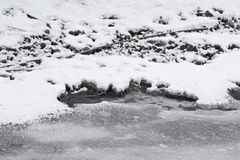 Snow Topped Icy River Stock Photo