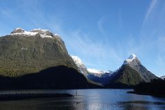 Mitre Peak at Milford Sound, New Zealand stock images
