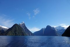 Mitre Peak standing out at Milford Sound, New Zealand stock image