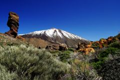 Snow Toppped Volcano. The Snow Topped Volcano Mount Teide in Tenerife Stock Image
