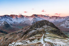 Snow On Tops Of Langdale Pikes. Royalty Free Stock Photos