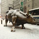 Snow Tourist Attraction. A snowy Financial District area - Charging Bull Royalty Free Stock Image