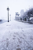 Snow in the town in December, Chicago Illinois Royalty Free Stock Photography
