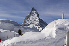 The snow town and Matterhorn Stock Photography