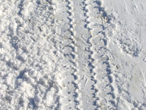 Snow Tracks. Tire tracks in the snow royalty free stock image